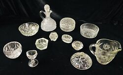 Vintage Eapg Pressed Glass Lot Of Assorted Dish And Accessories Creamer Bottle Egg