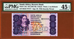 South Africa 5 Rand 1981-89 Solid Serial 777777 P-119c Ch Ex Fine Pmg 45 Epq