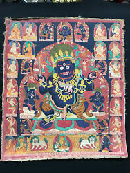 Tibet Old Thangka Painting 4 Arms Mahakala Protector