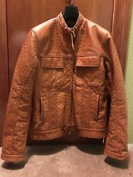 BRIONI Brown Leather Jacket Ostrich Bomber Sz MedLarge RaRe MINT