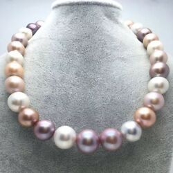 Gorgeous 13-15mm South Sea Round Multicolor Pearl Necklace 18inch 925s
