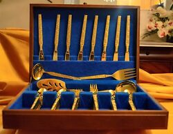 Vintage Oxford Hall Rosen Stainless Steel Gold Electroplate 54 Piece Set