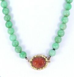 9k Vintage 14k Yellow Gold Bamboo Carved Fire Opal Natural Green Jade Necklace