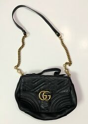 100% Authentic GUCCI Marmont Small Chevron Quilted Top-Handle Bag w Chain Strap