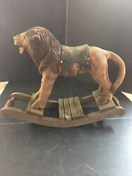 Antique Victorian 19th C. Folk Art Toy Rocking Lions Doll Ride On 10.5andrdquo Sbswcse