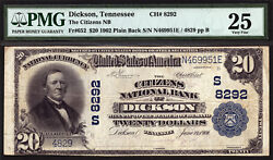 20 1902 Pb The Citizens National Bank Of Dickson Tennessee Ch 8292 Pmg 25 Rare