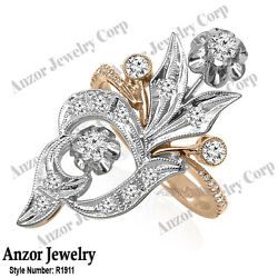 Russian Style Jewelry Genuine Diamond Ring In 14k Solid Rose And White Gold
