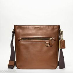 Coach Men's Bleecker Legacy Leather Field Crossbody Bag BrassFawn F70488