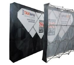 8ft Straight Pop Up Fabric Display Trade Show Backdrop Wall Stand Frame+graphic
