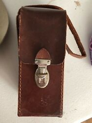 Real Hide Leather Whisky Scotch Bourbon Carry Flask Case England