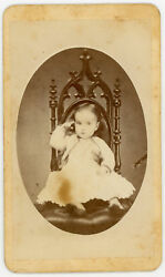 Child Pointing At Temple, Seated Pose On Beautiful Chair. Cdv. Attica, Indiana.