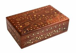 Gorgeous Hand Carved Rosewood Trinket Jewelry Box With Mughal Inspired Brass Inl