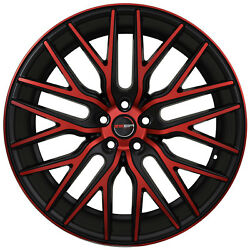4 GWG Wheels 22 inch Black Red Face FLARE Rims fits CHEVY IMPALA 2000 - 2013