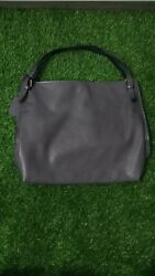 Authentic Rabeanco Shoulder leather Tote Bag gold hardware slouchy hobo office