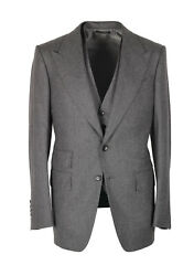 New Tom Ford Shelton Gray Striped 3 Piece Suit Size 46 / 36r U.s. Wool