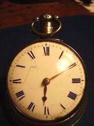 Rare Antique Verge Dublin Fusee Paircase Pocket Watch, Silver Cased