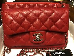 100% AUTHENTIC CHANEL RED CAVIAR LEATHER CROSSBODY BAG RARE TIMELESS