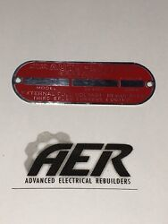 Auto-lite Red Generator Id Tag Nameplate Autolite Stamped W/ Your Numbers