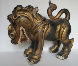 Large Antique Chinese Gilt Carved Wood Temple Foo Dog W/ Pearl In Mouth 16 Wide