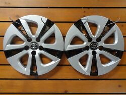 Pair 2 Silver Black 2016 2018 Toyota Prius 15quot; Wheel Covers Hub Caps Rim 61180