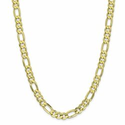 10k Yellow Gold 8.75 Mm Light Concave Figaro Link Chain Necklace Msrp 5320