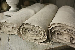 Bolt Antique Upholstery Fabric Homespun Linen Hemp 38.4 Yards Long And Wide Washed