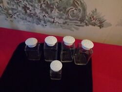 Lot Of 5 Upjohn Glass Apothecary/spice Jars With White Dimple Lids