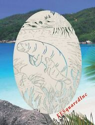Manatees Window Decal Oval 21x33 Static Cling Tropical Sliding Glass Doors Decor
