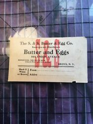 Vtg Dairy S And S Butter Egg Advertising 844 Union Avenue Bronx Ny State Bank Rare