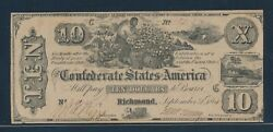 Csa T-29 1861 10 Slave Note Conf States Of America Choice Vf-xf Hw4803
