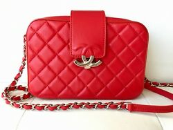 17 CHANEL RED QUILTED LAMBSKIN LEATHER SILVER HW CAMERA CASE BAG ZIP AROUND CC