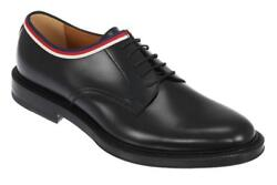 NEW GUCCI CURRENT BLACK LEATHER WEB TRIM OXFORD LACE-UP SHOES 11US 11.5