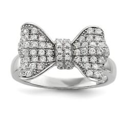 Sterling Silver 10 Mm Brilliant Embers And Cz Bow Ring Msrp 100