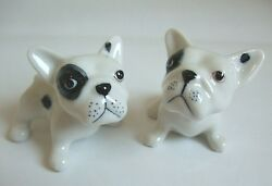 * Lot 2 Handmade Hand-Painted Miniatures Ceramics French Bulldog Figurines *