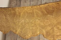 Italian 18th Century Silk Damask Valance Gold Textile Antique Early 1700's