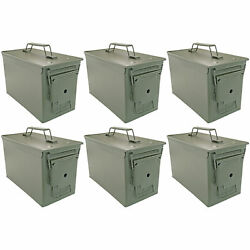 .50 Cal Ammo Can Set of 6 Military Quality Ammunition Bullet Storage Box Green