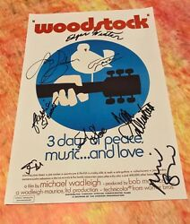 Gfa Sly Pierre X8 Autographes And03969 Woodstock Signandeacute 12x18 Photo Poster Coa