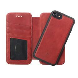 iPhone XS Max Wallet Case Genuine Leather Card Slots Stand Detachable Cover Red