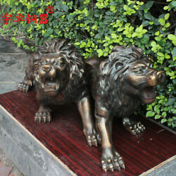 35'' China Bronze Animal One Pair Lion Palace Gate Lion Bronze Statue