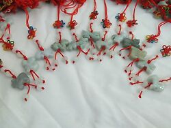 Set Of 12 Chinese Zodiac Butterfly Knot Jade Cell Phone Charm Strap Red