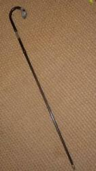 Superb Anique Hallmarked Silver Boxer Dogs Head Bamboo Walking Stick -glass Eyes