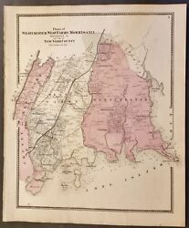 Ny Map Westchester And Bronx 1867 Morrisania West Farms Fordham Olinville