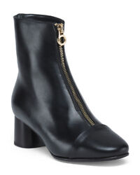 Napoleoni Black Leather Front Zip Booties Ankle Boots Made In Italy New 8 10 11