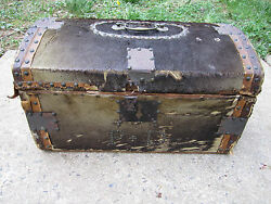 Rare Antique Small Travel Trunk Deer SkinWood Ebenezer Tirrell Jr. 19th c.