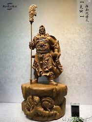 36''Natural agalloch eaglewood carved Dragon Guan Gong Home Fengshui statue