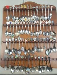 Lot Of 62 Collectible Souvenir Spoons Foreign And Domestic With Display Rack