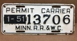 Verry Rare 1951 Minnesota Permit Carrier R.r. And W.c. License Plate - Railroad