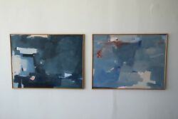 Set of Large Mid Century Abstract Paintings Signed Antonio Angulo 79