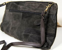 Suede Leather Patch Design Drk Brown Messenger Bag Purse wZippered Compartments