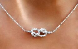Valentine Gifts Infinity Love Knot Necklace In 925 Silver With Link Chain 18